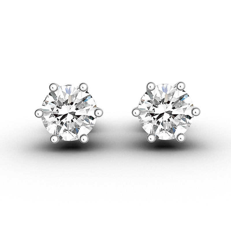 27bf8d389 img. img. img. A pair of ORRO Six-Pronged Round Brilliant Solitaire Stud- Earrings offers understated sophistication for ...